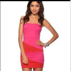 Forever  21 body con tight dress pink red tube top